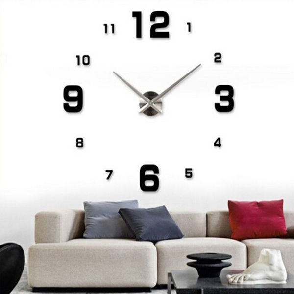 Hot Modern Art Diy Large Wall Clock Sticker Kit Design Home Office Room Decor Gl