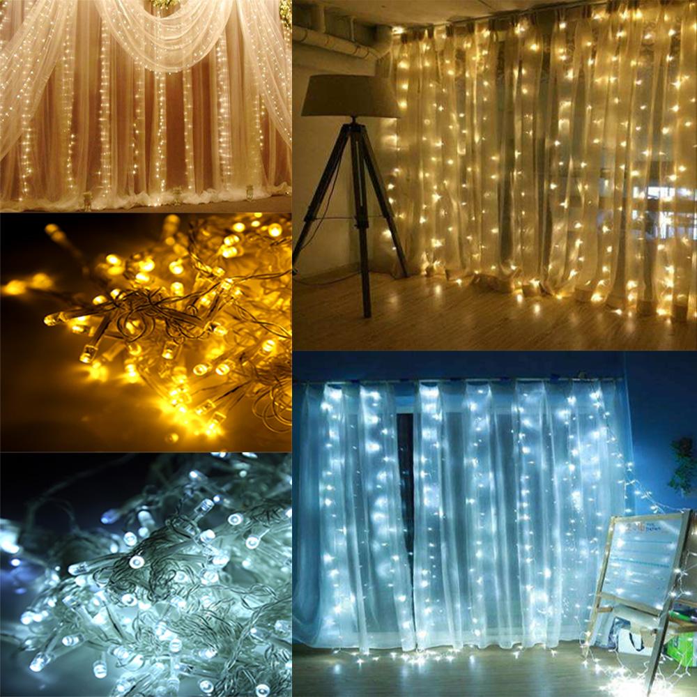 3x3m 300led lichtervorhang lichternetz beleuchtung innen au en deko lichterkette ebay. Black Bedroom Furniture Sets. Home Design Ideas
