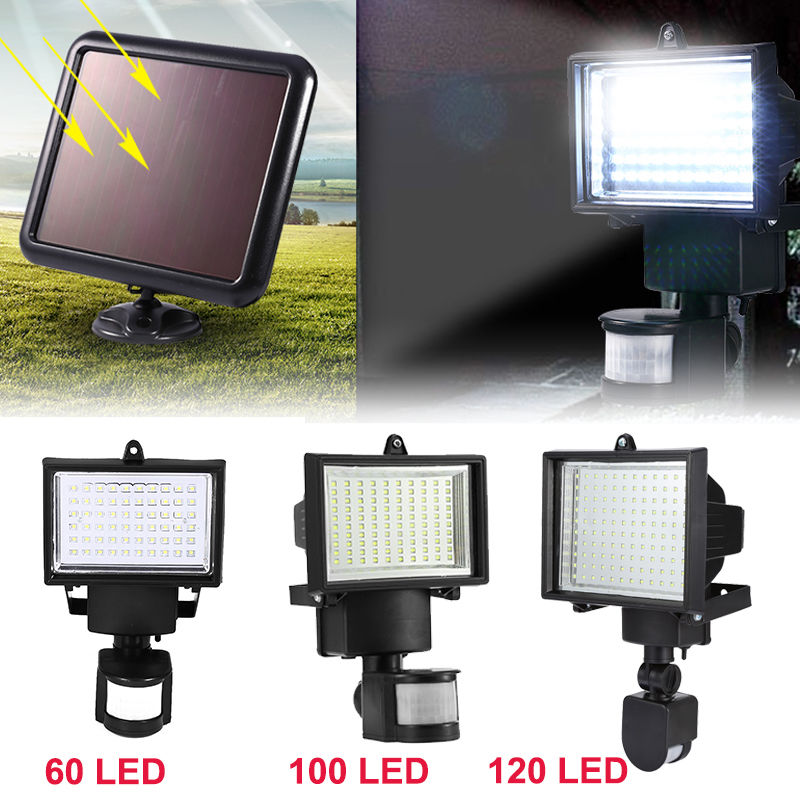 60//100//120 Solarleuchte Solarlampe Infrarot-Sensor Bewegungsmelder Flutlicht ECH