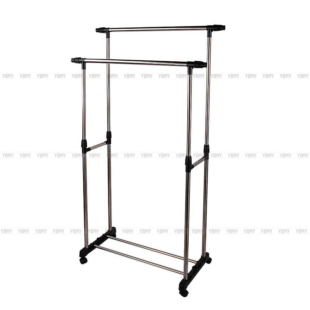 2 stange kleiderst nder kleiderwagen garderobenst nder verstellbar mit rollen de ebay. Black Bedroom Furniture Sets. Home Design Ideas