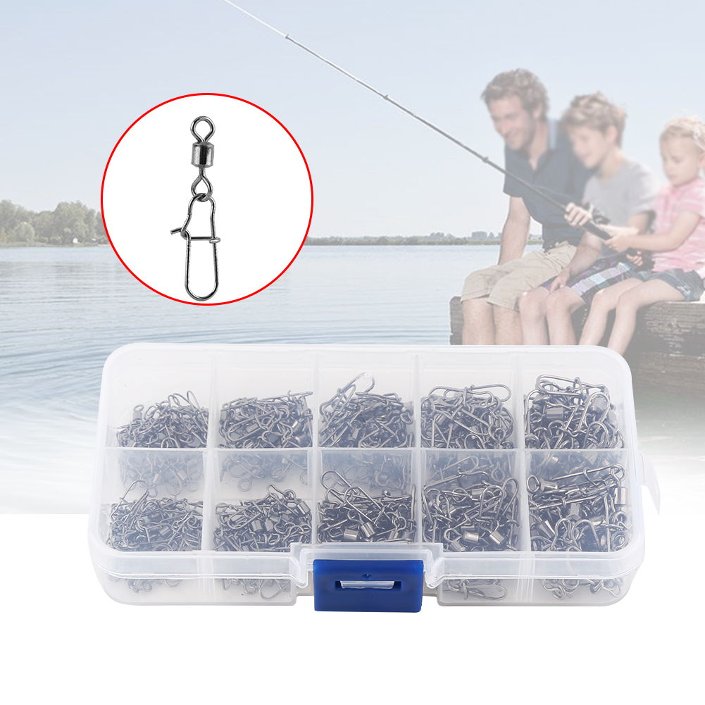 210pcs Fishing Barrel Rolling Swivel Fishing Snap Tackle Connector Accessories