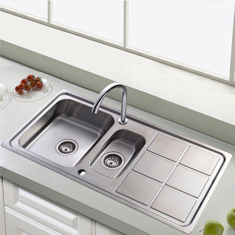 Edelstahl Küchenspüle Einbauspüle 1,5 Becken Waschbecken Küche ...