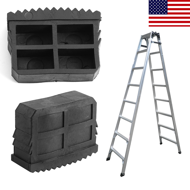 Beautiful 2pcs Black Rubber Step Ladder Feet Non Slip Ladder Foot Replacement Grip Cover Tools 100% Guarantee Construction Tools Construction Tool Parts