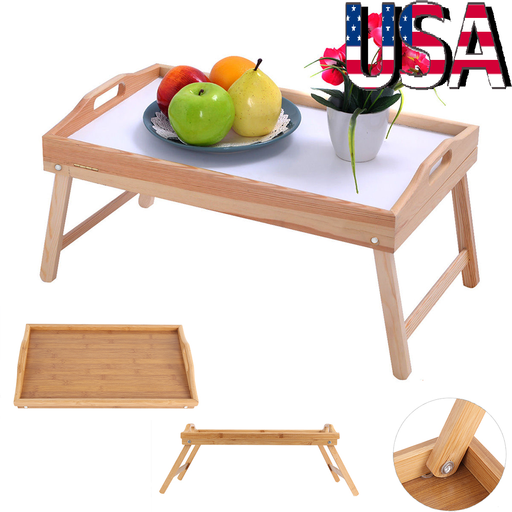 Portable Lap Foldable Desk Sofa Bed Tray Table Stand Breakfast Food Serving  US