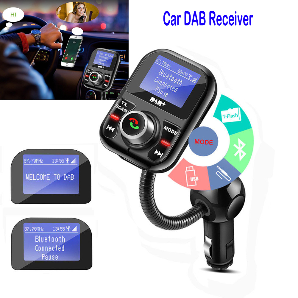 car dab aux digital radio usb lcd adapter receiver tuner. Black Bedroom Furniture Sets. Home Design Ideas