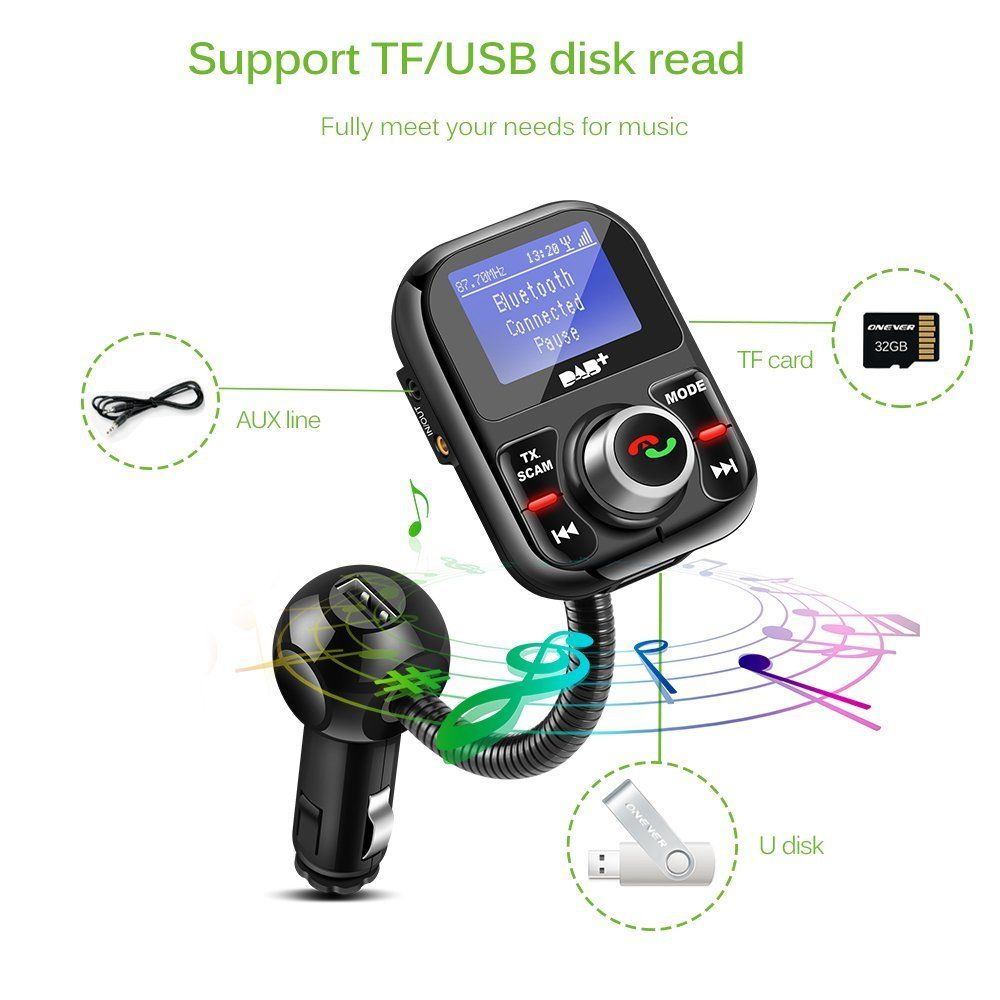 Car Dab Digital Radio Receiver Fm Transmitter Bluetooth Usb Mp3 Circuit Diagram Review Ebooks Adapter Tuner Antenna