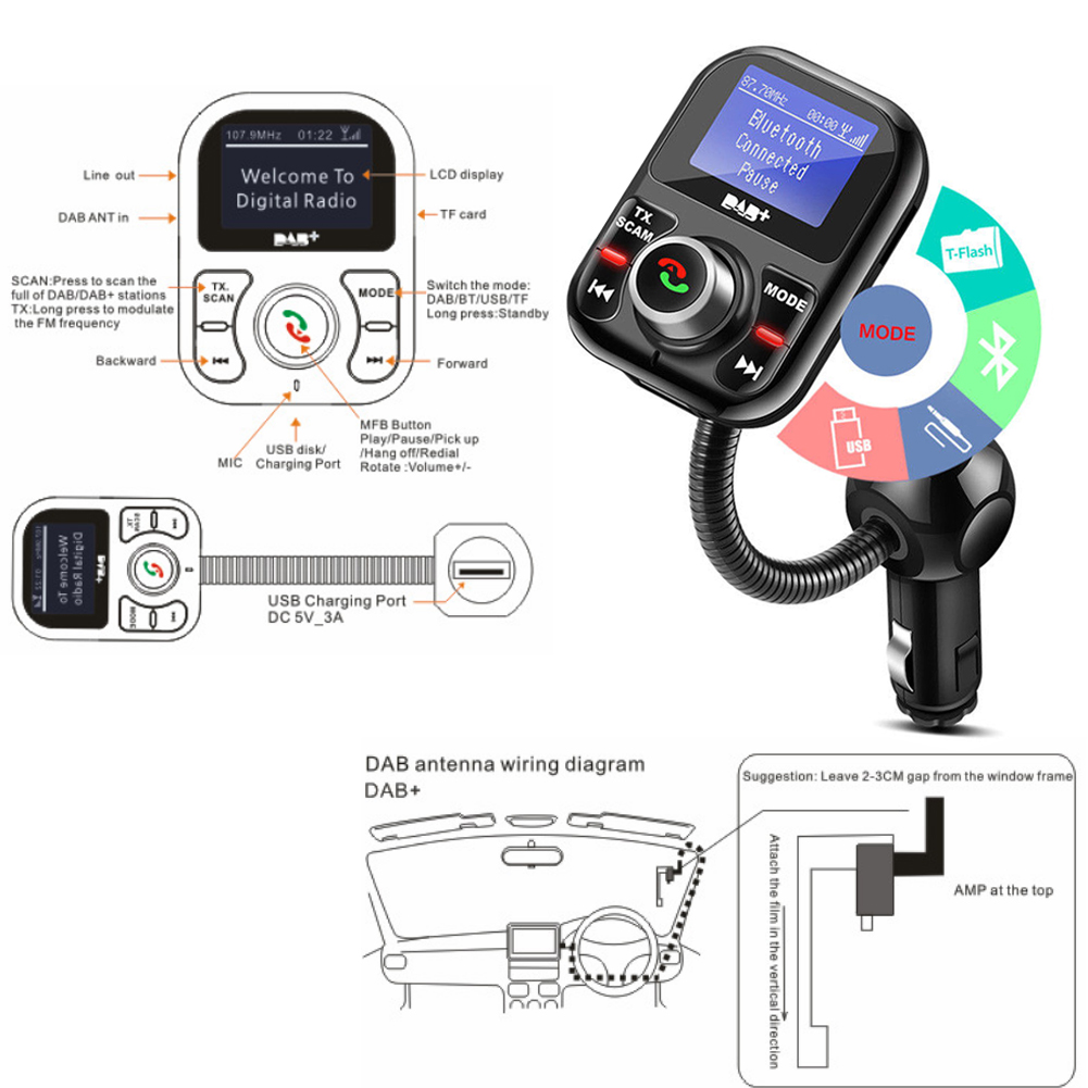 Car Dab Digital Radio Receiver Fm Transmitter Bluetooth Usb Mp3 Circuit Diagram Review Ebooks Product Description