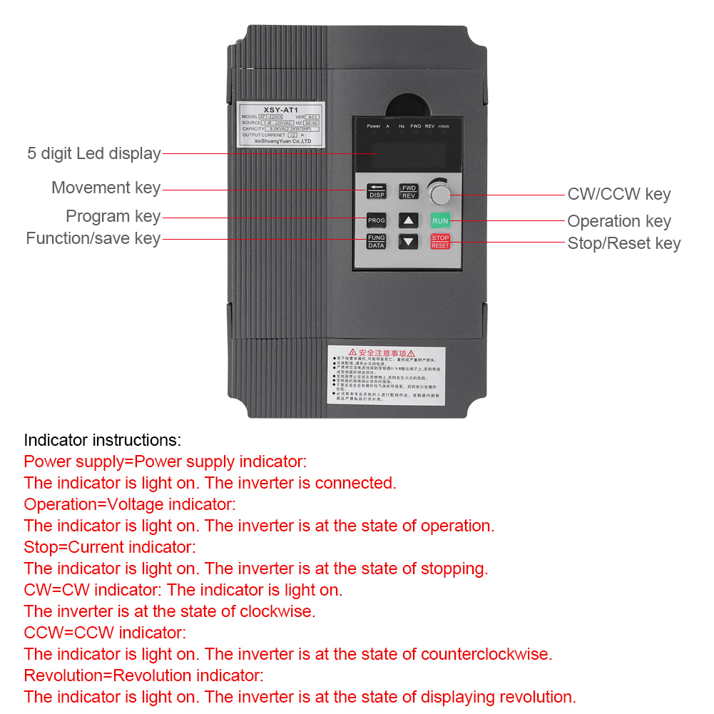 220v 2 2kw Cnc Spindle Motor Speed Control Variable Frequency Drive Vfd Inverter 663862834369