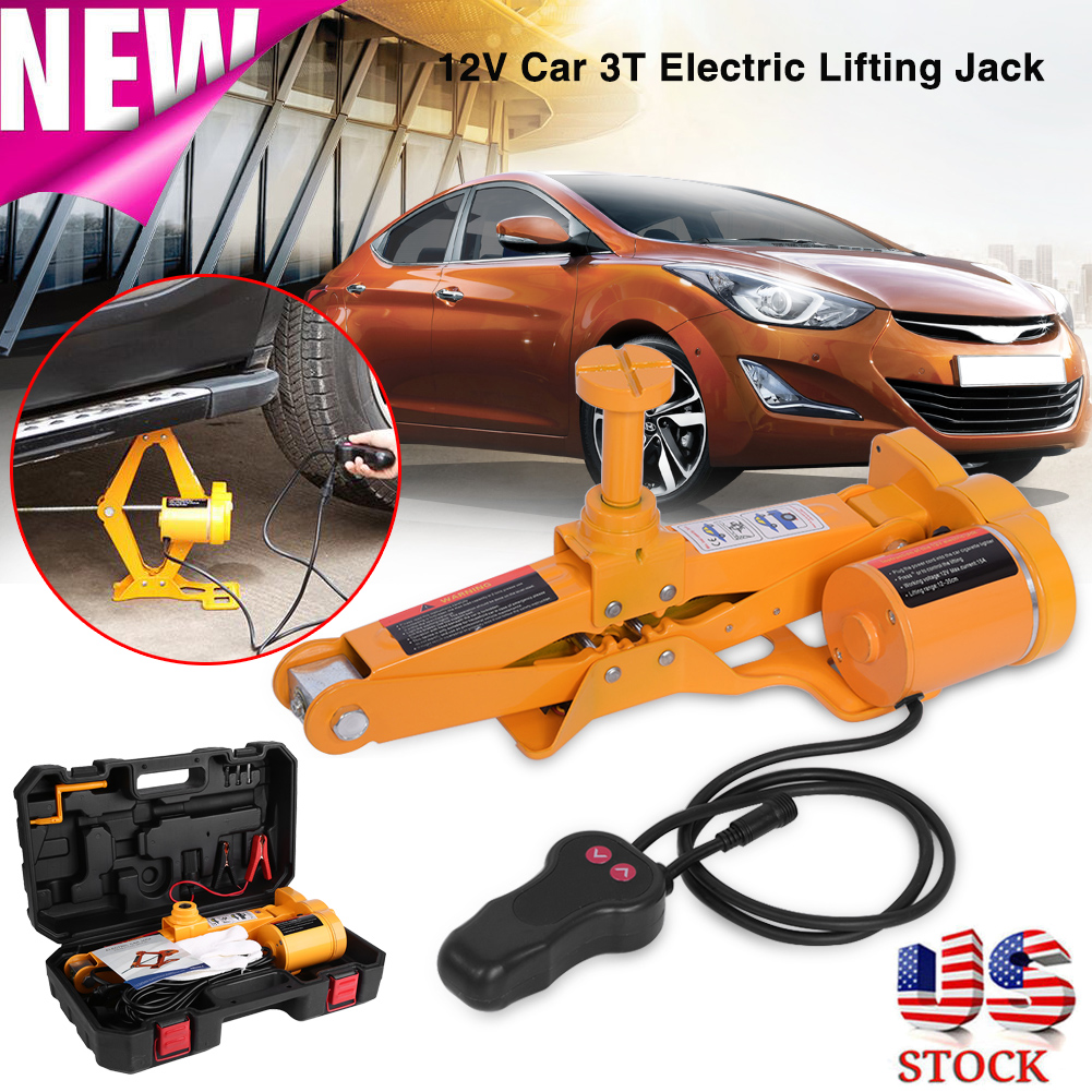 12V 3 Ton Automotive Electric Scissor Car Jack Lifting 1/2 ...