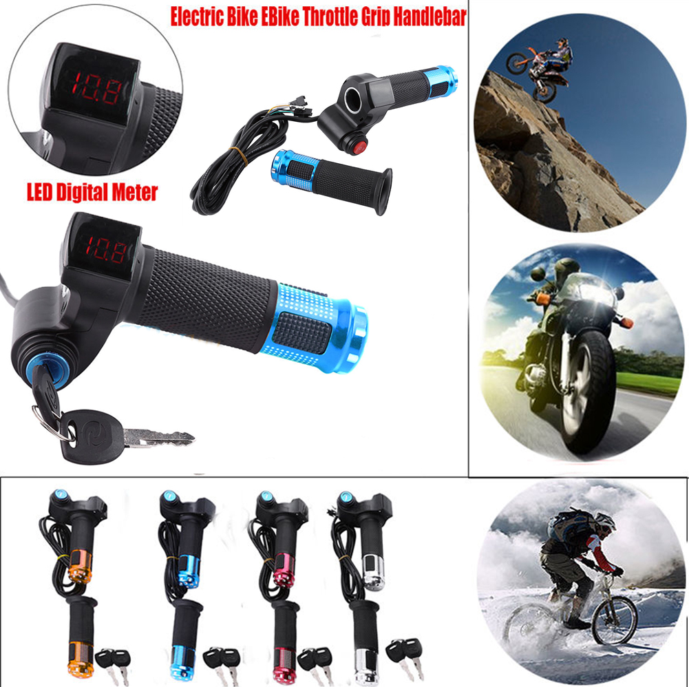 60V48V36V24V EBike Electric Scooter Throttle Grip Handlebar LED Digital Meter DE