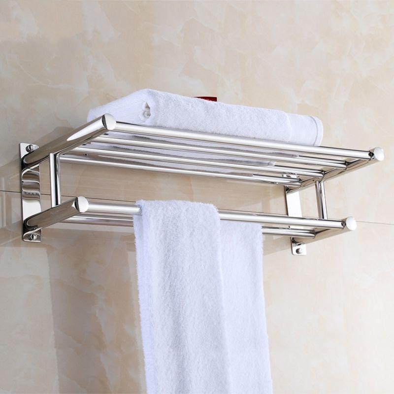 Wall Mounted Towel Rack Bathroom Hotel Rail Holder Storage Shelf Stainless Steel Ebay