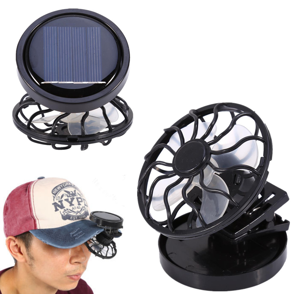 Portable Mini Solar Clip-On Cap Hat Fan for Outdoor Sport Travel Camping Fishing