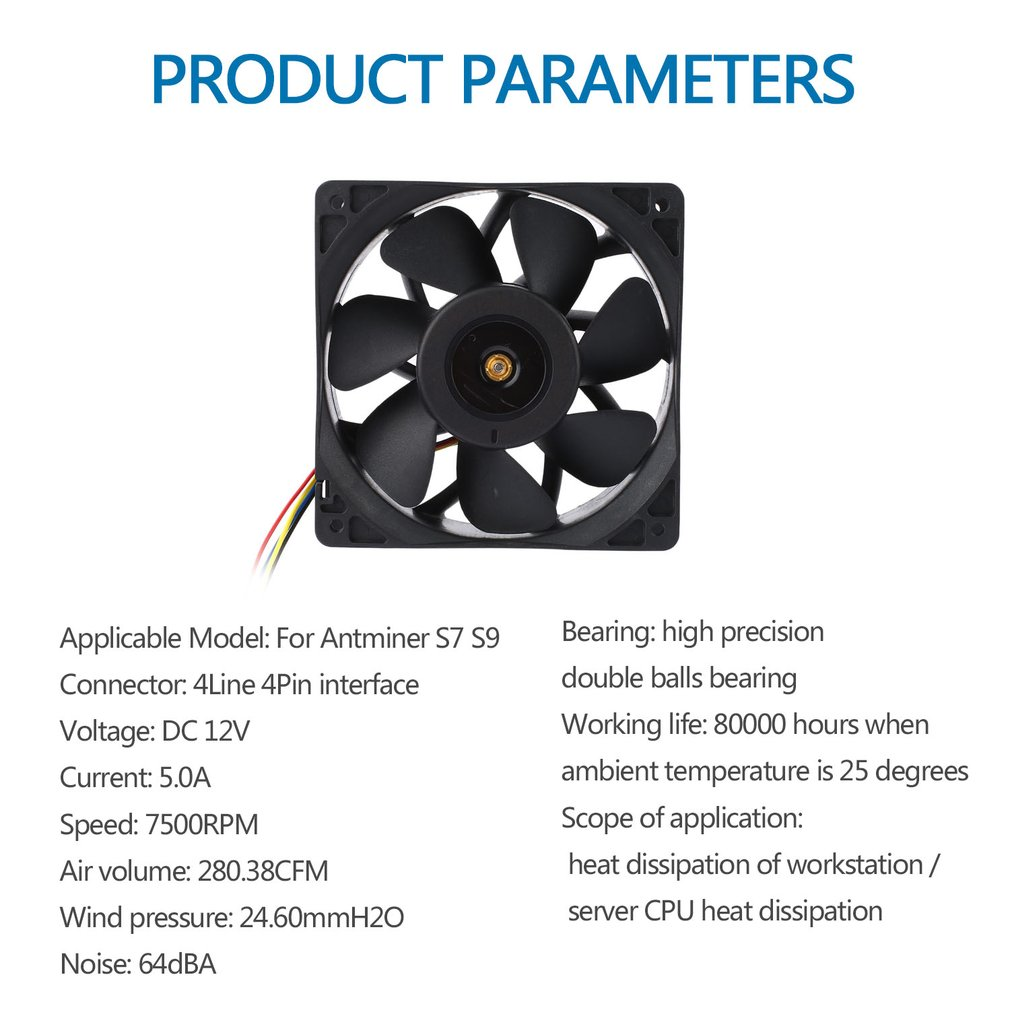 7500rpm Mining Cooling Fan Replacement 4 Pin 12v 5a For Antminer Foxconn Wire Diagram Bitmain S7 S9