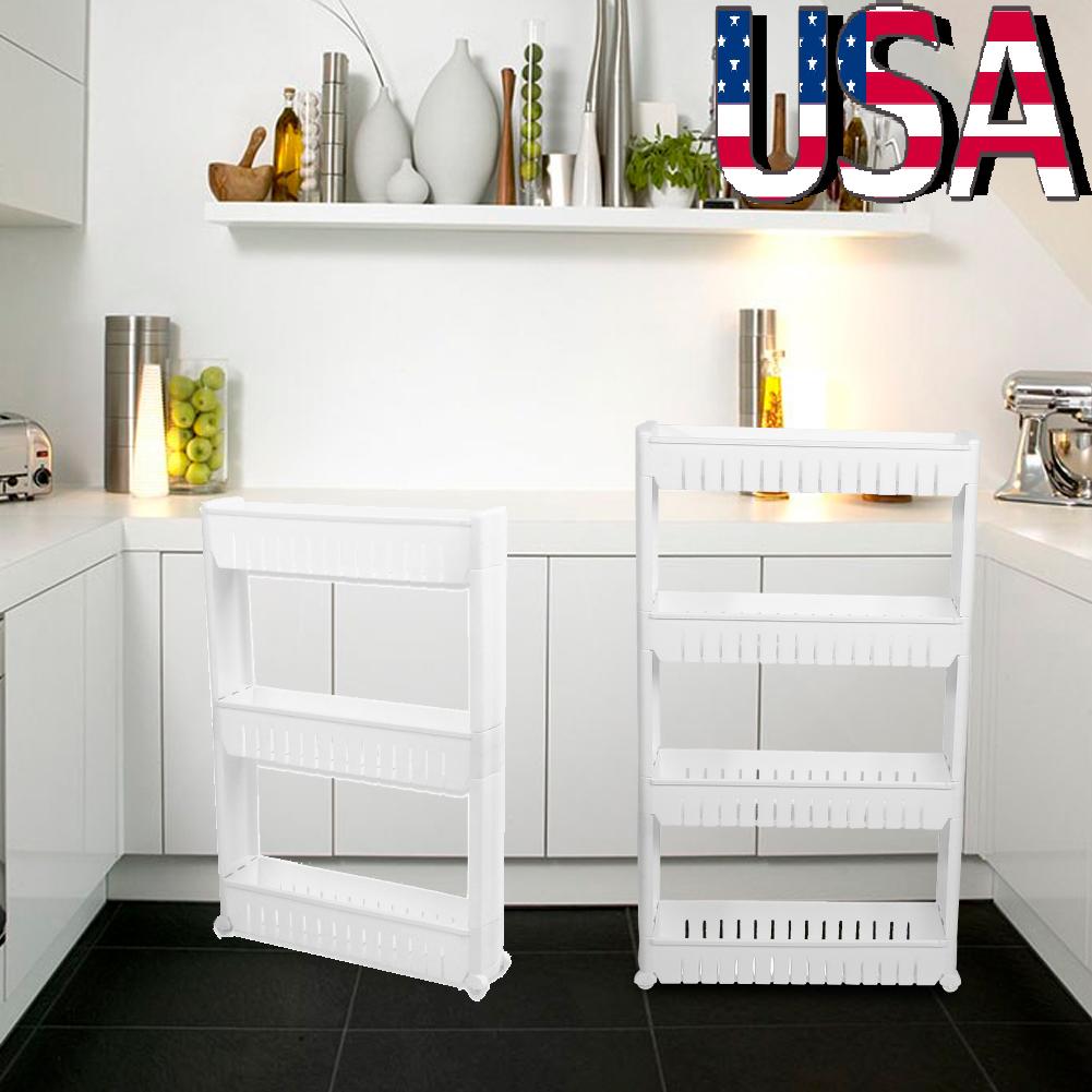 Kitchen Storage Slim Slide Tower Rack Shelf Homfa 3-4 Tier Pull Out ...