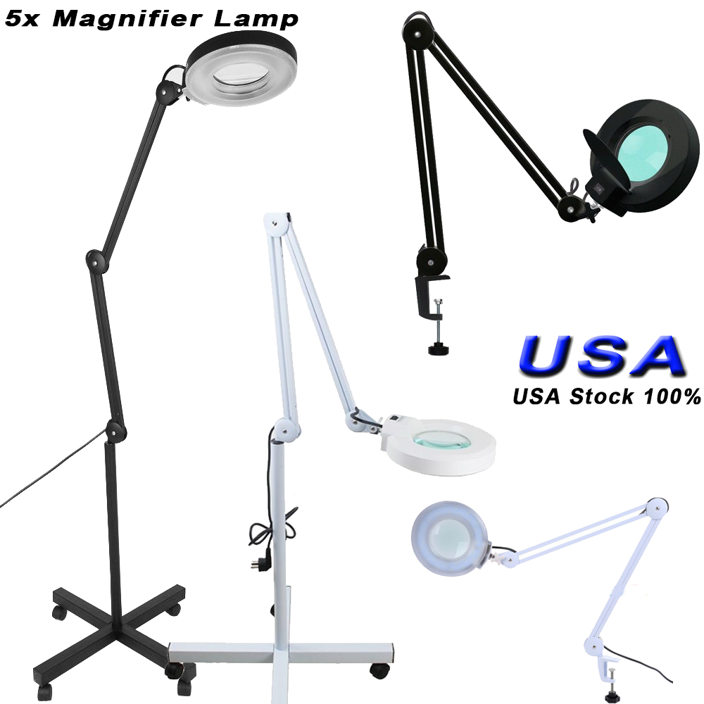 5x Magnifier Diopter Table Magnifying Floor Lamp Desk Top
