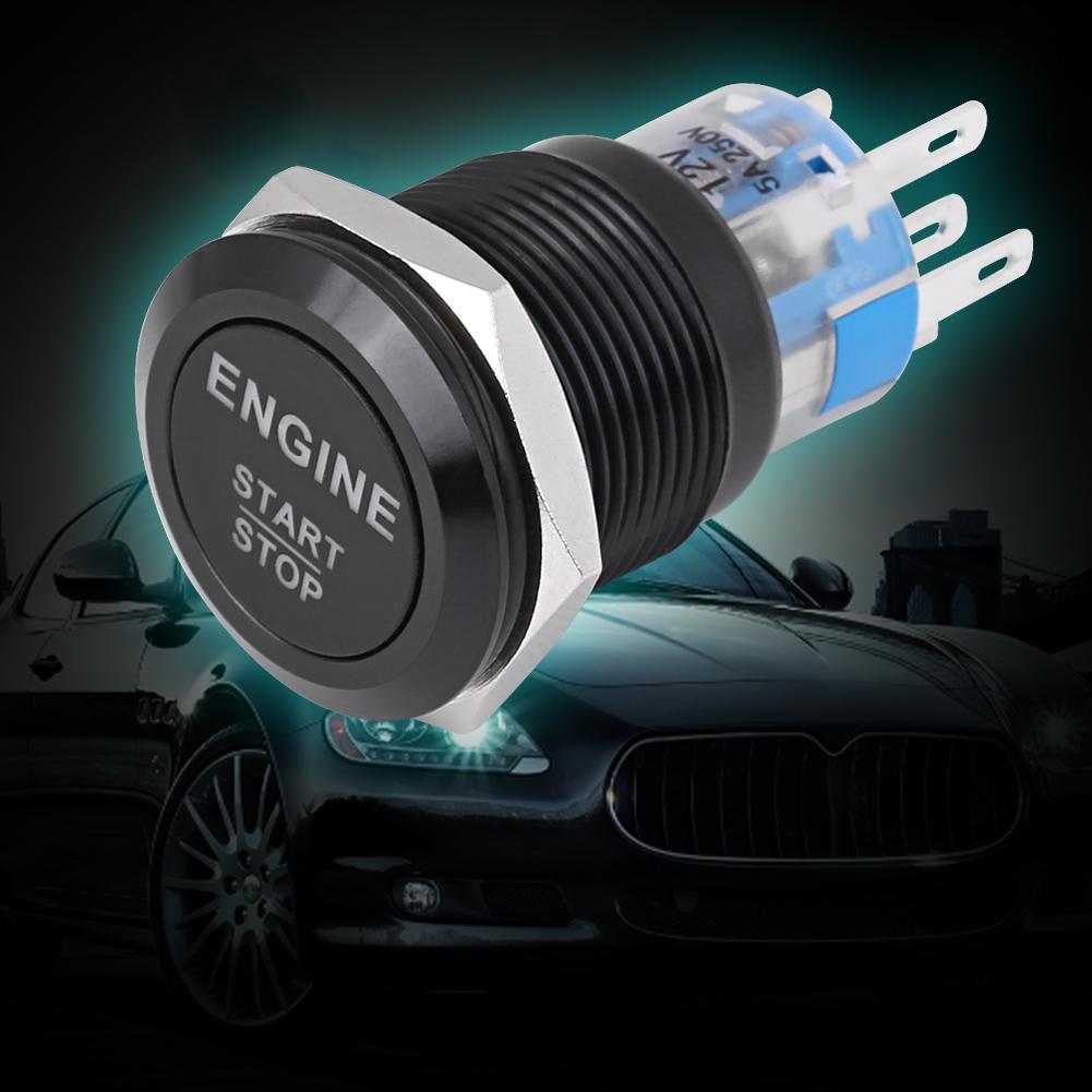 12V White LED Light Car Anti-Rust Engine Start Stop Push Button Switch Black