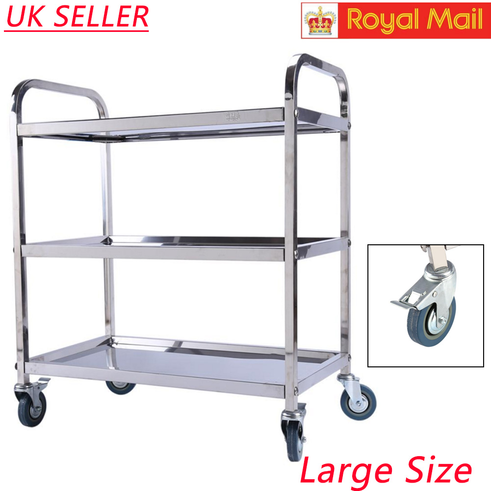3 Tiers Stainless Steel Kitchen Island Rolling Utility Bar Serving ...