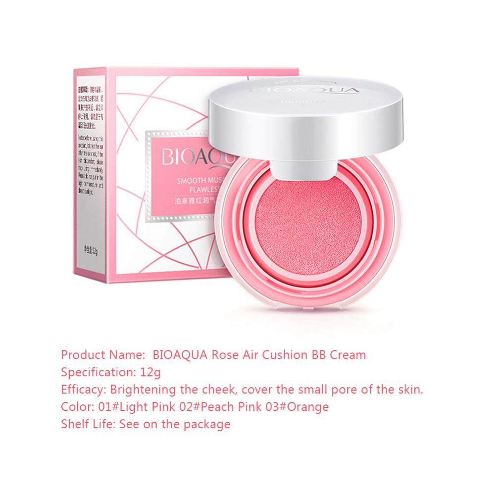 Bioaqua Air Cushion Blusher Bb Cream Powder Face Makeup Paste Nude Foundation Light Skin 5 Of 12 Rouge