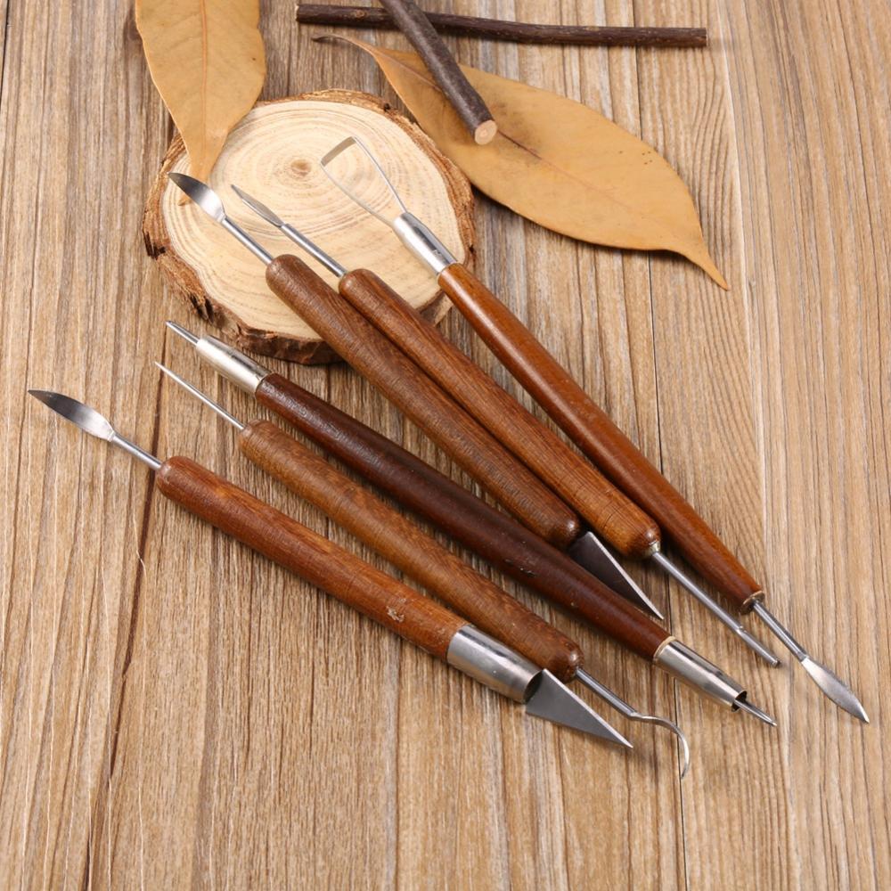 6Pcs Escultura de Cerámica Arcilla de Modelado Set de Herramientas de Tallado