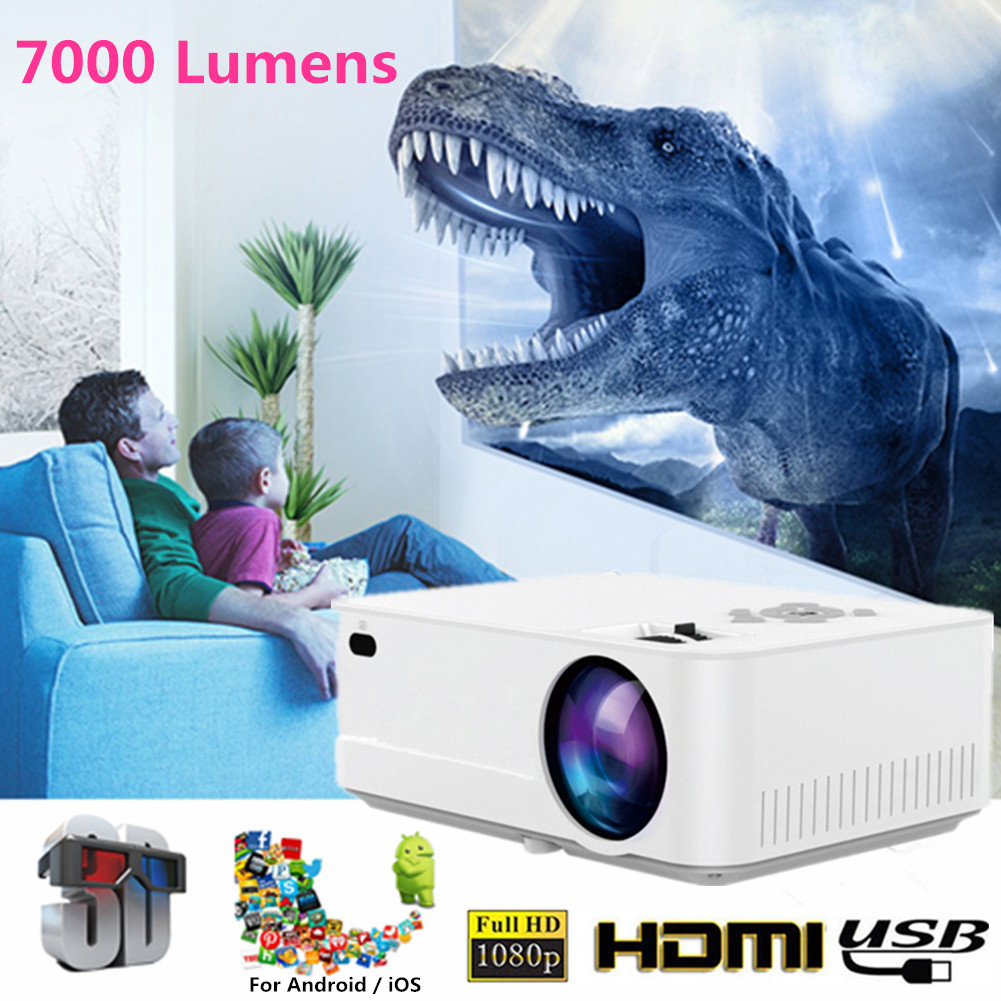 Hiperdeal Home Cinema Theater Multimedia Led Lcd Projector: 7000 Lumens LED Projector HD 1080P Multimedia Home Cinema