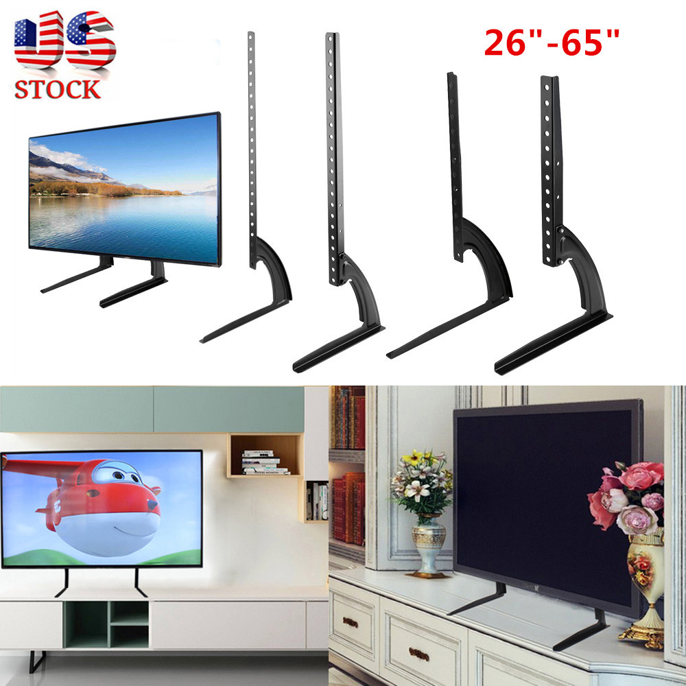 """Universal Flat Screen TV Stand Base Tabletop Hold Pedestal Mount LCD LED 26/""""-65/"""""""