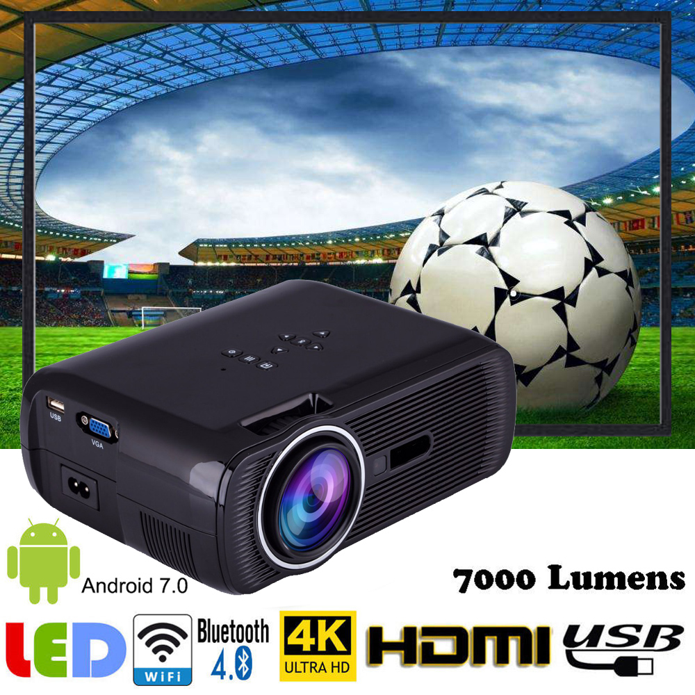 7000 Lumens Mini 3D LED Projector Android 6.0 WiFi UHD Home Theater Multimedia