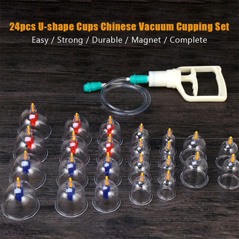 Cupping Therapy Scar Tissue: 24 Cups Chinese Vacuum Cupping Set Acupuncture Massage