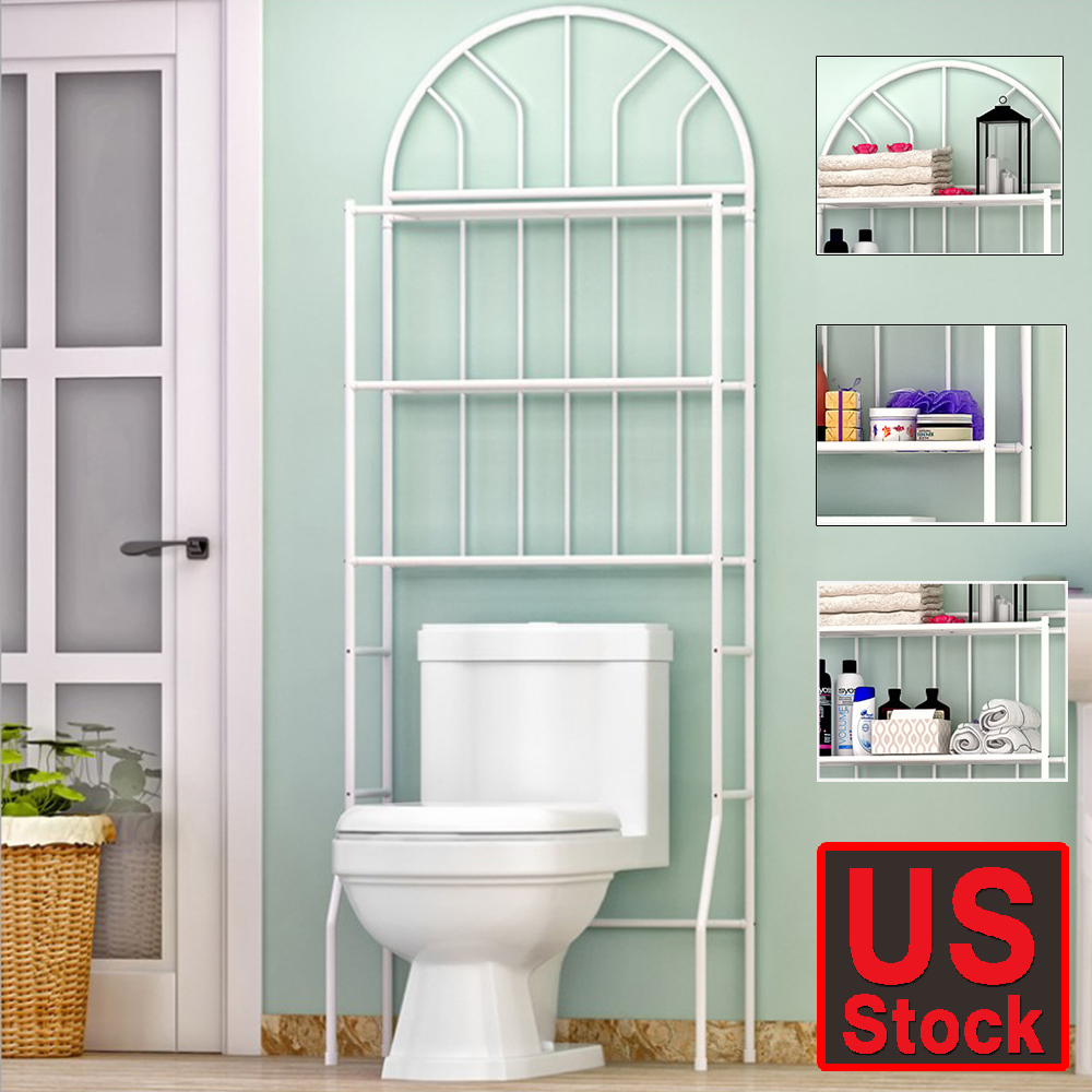 3 Shelf Country Bathroom Furniture Towel Stacker Wall Shelf Over The ...
