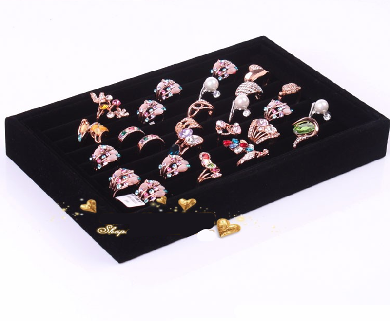 Suede Jewelry Ring Earrings Display Box Storage Case