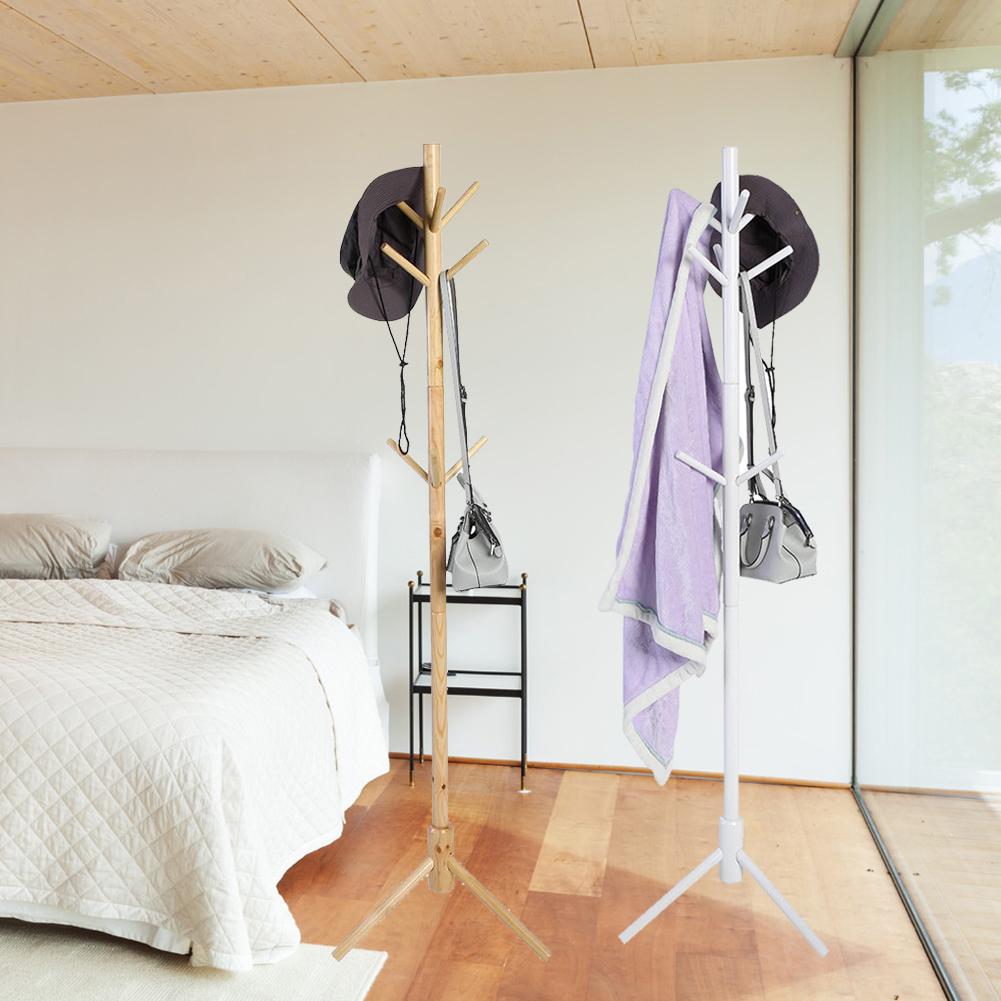 Kleiderständer Garderobenständer Garderobe Ständer 9 Kleiderhaken Holz/Weiß  Neu