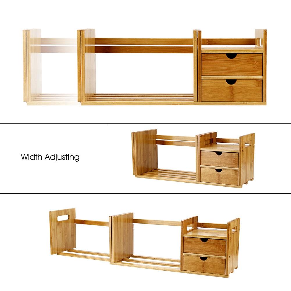 Adjustable DIY Wood Desk Top Book Shelf Rack Storage ...