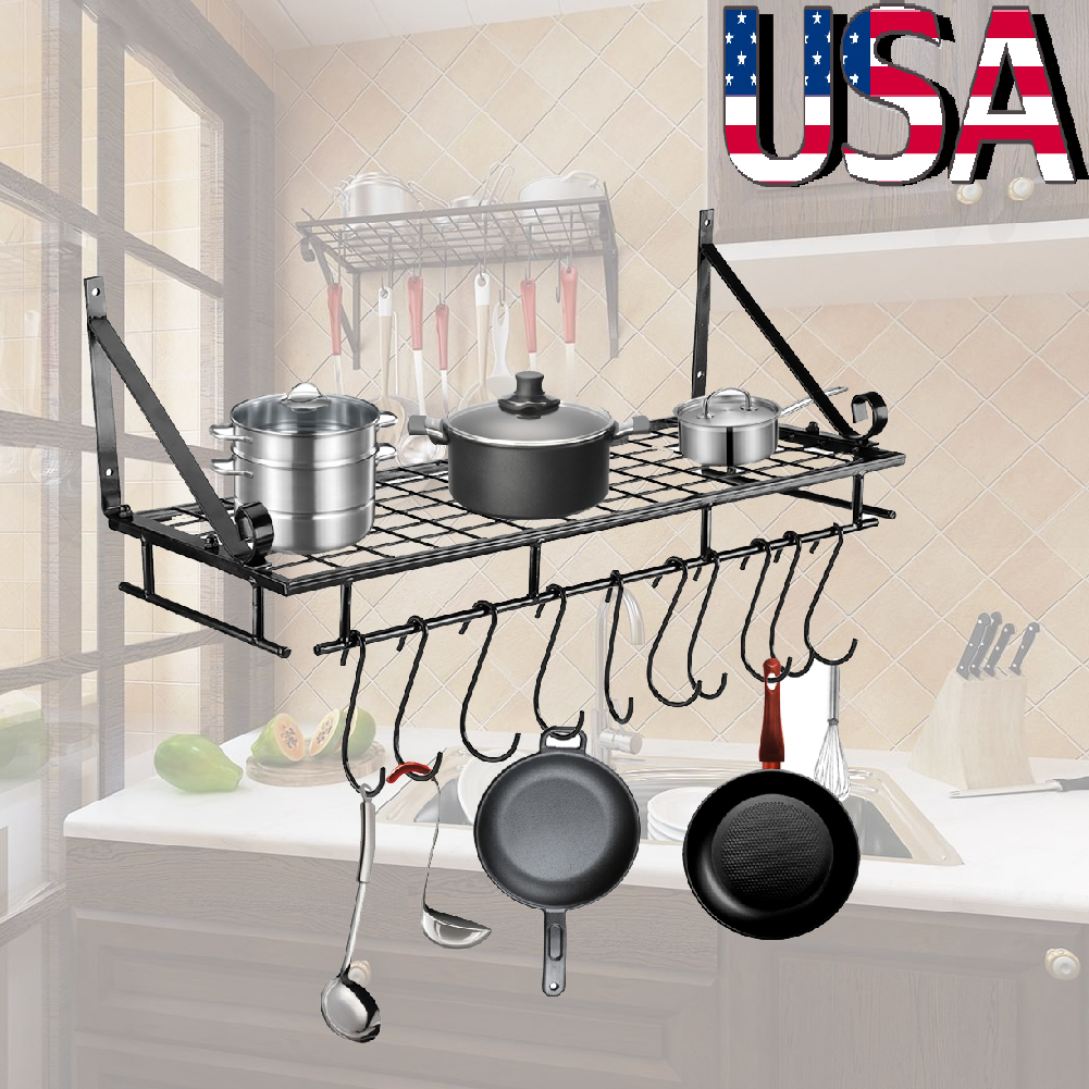 Details About Wall Mount Pot Pan Hanging Rack Kitchen Cookware Storage Organizer Holder Hook
