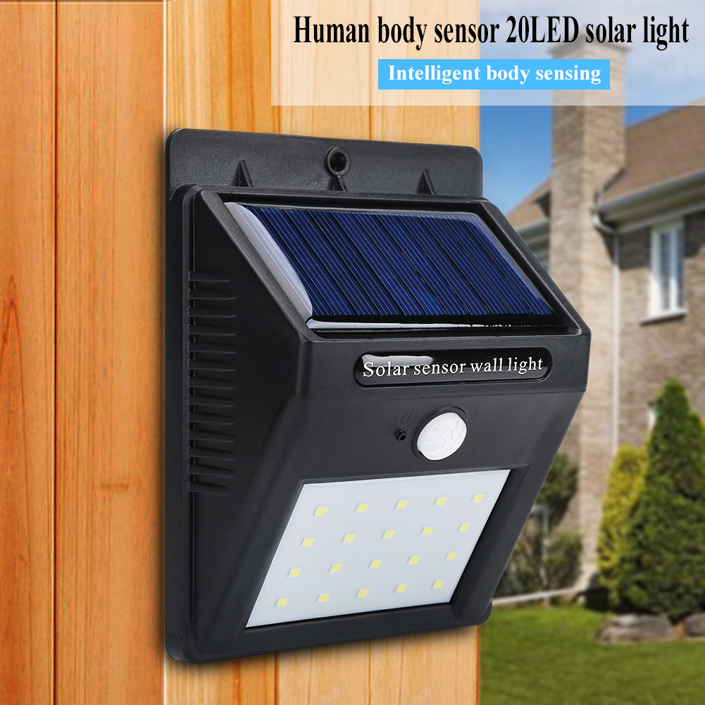4pack 20 Led Outdoor Solar Powered Pir Motion Sensor Security Shed