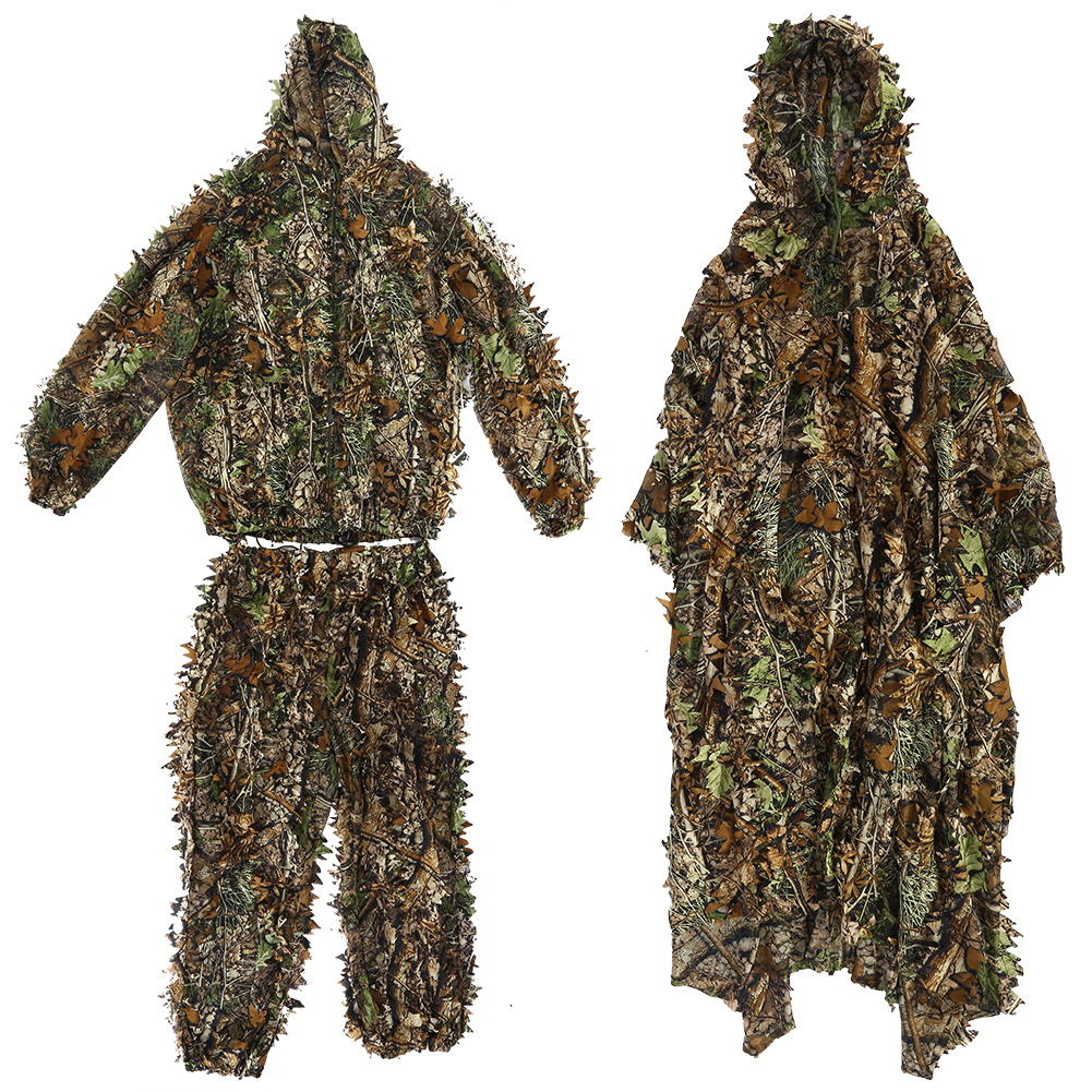 Details about Tactical 3D Camouflage Leaf Clothing Hunting Sniper Ghillie  Suit Cloak Woodland