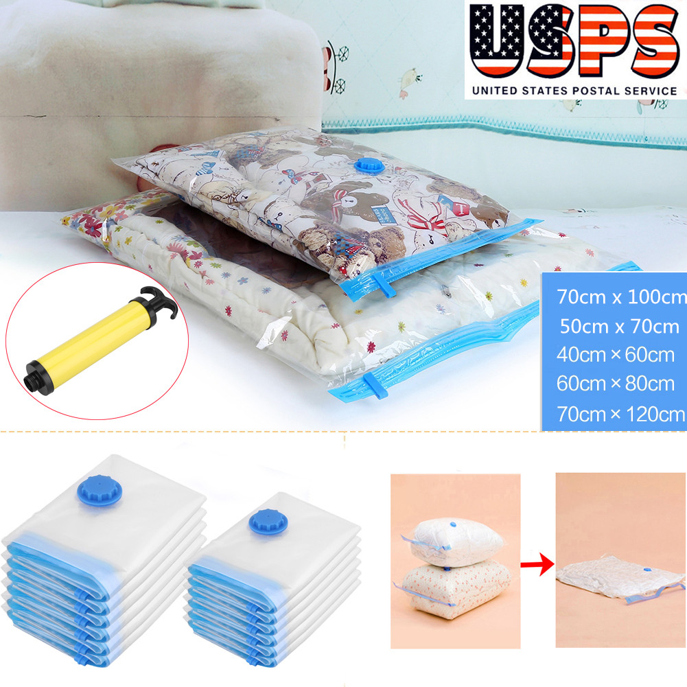 12PCS Strong Vacuum Storage Bags Space Saving Compressed Pack Saver with Pump UK