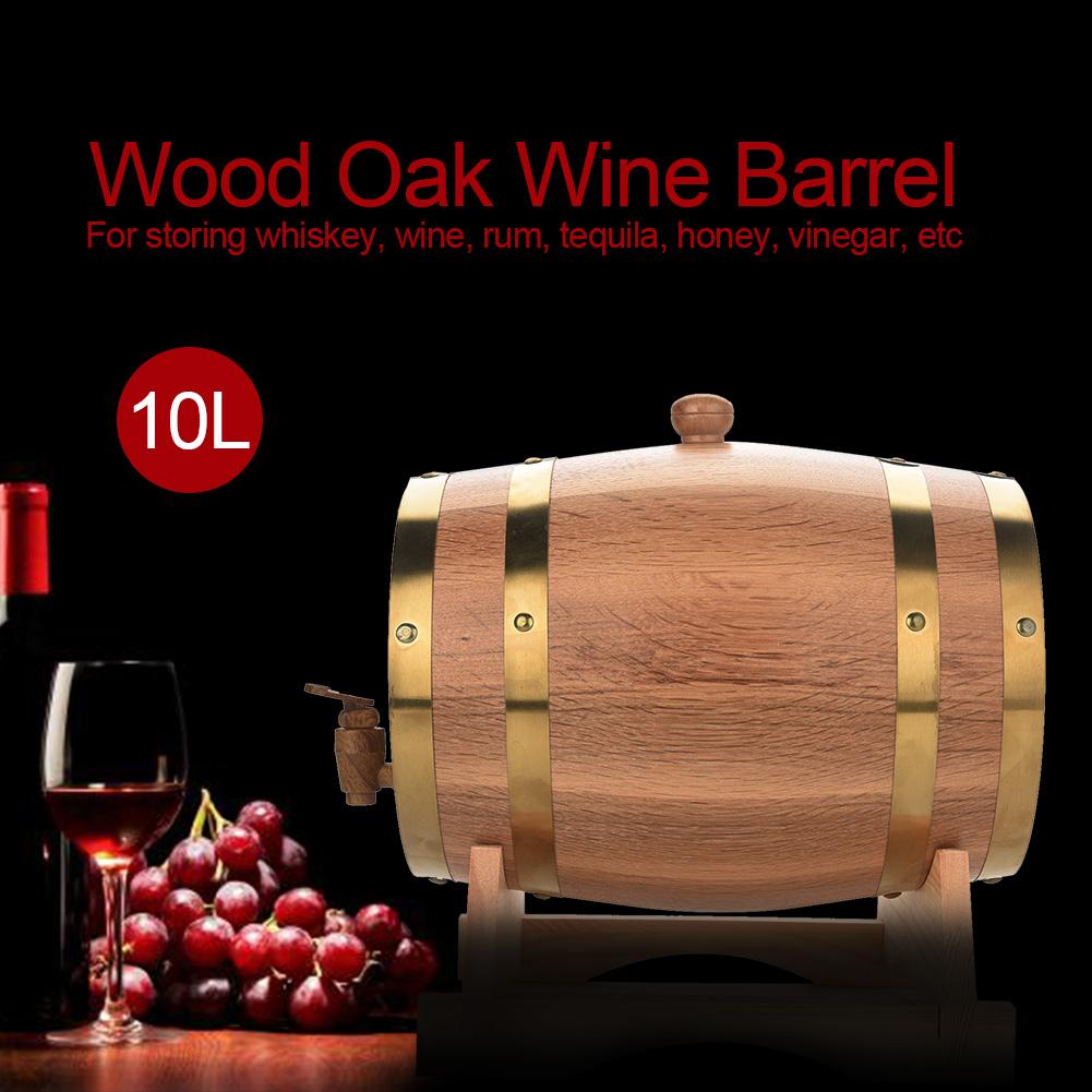 1.5L/3L/5L/10L Wood Oak Timber Wine Barrel For Beer Whiskey Rum Port Wooden Keg
