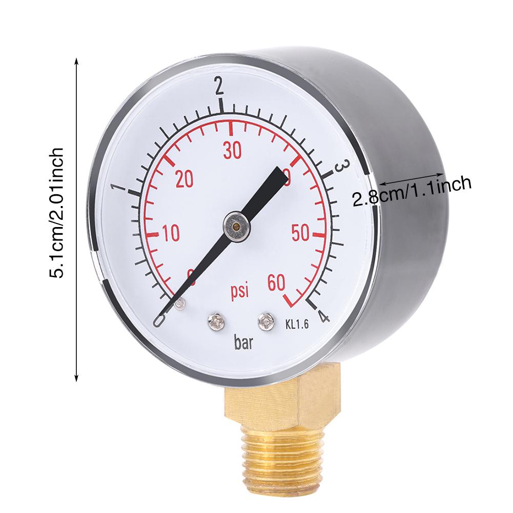 1x Mini Pressure Gauge Manometer For Fuel Air Oil Or Water ...