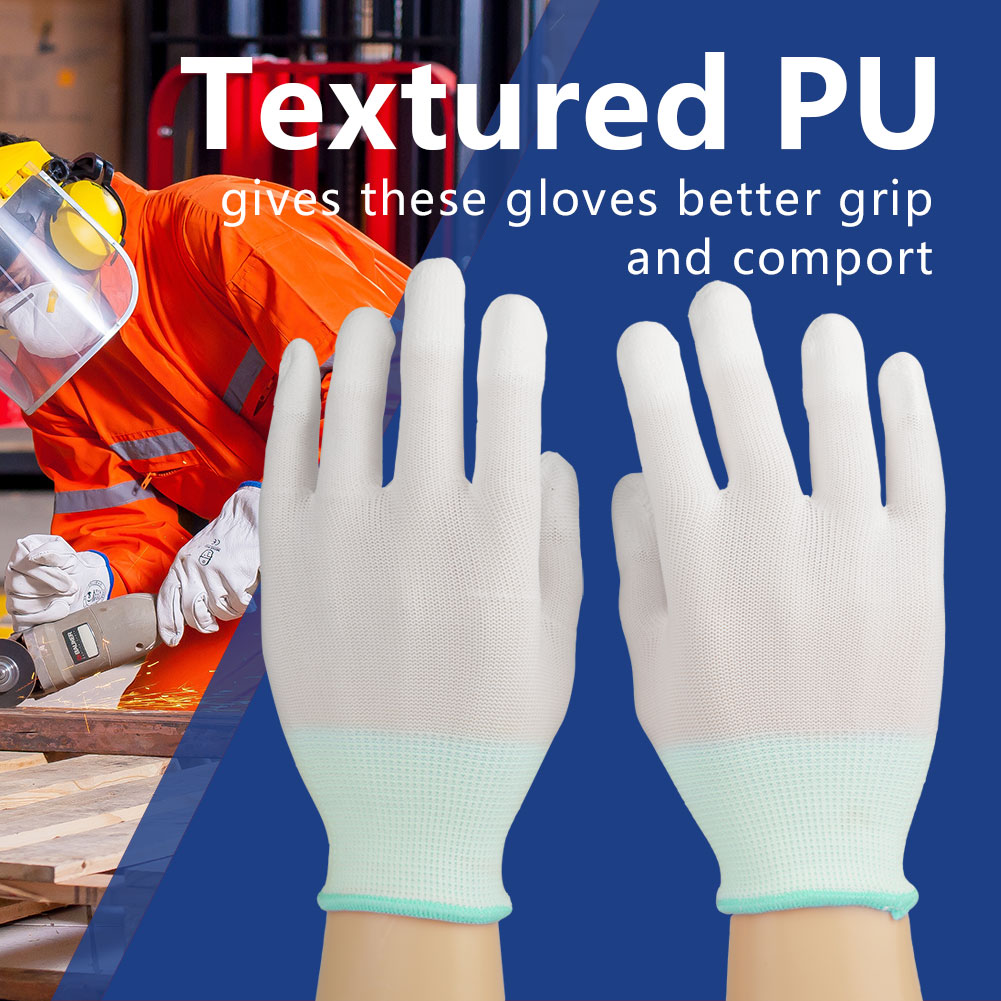 12 Pairs PU Nylon Safety Coating Work Gloves Builders Palm Protect S M L AL