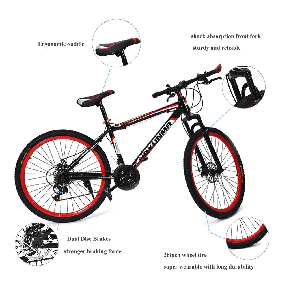 26inch Mountain Bike 21 Speed Carbon Steel Frame Dual Disc Brakes ...
