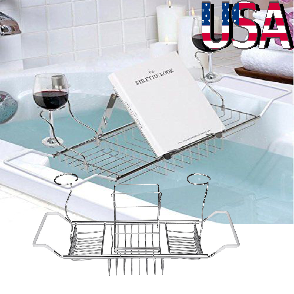 Bath Tub Caddy Tray Glass Bath Screen Storage Wine Holder Champagne ...
