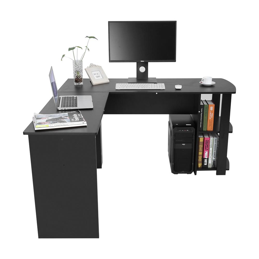 computertisch pc tisch schreibtisch arbeitstisch eckschreibtisch l form 2 farben ebay. Black Bedroom Furniture Sets. Home Design Ideas