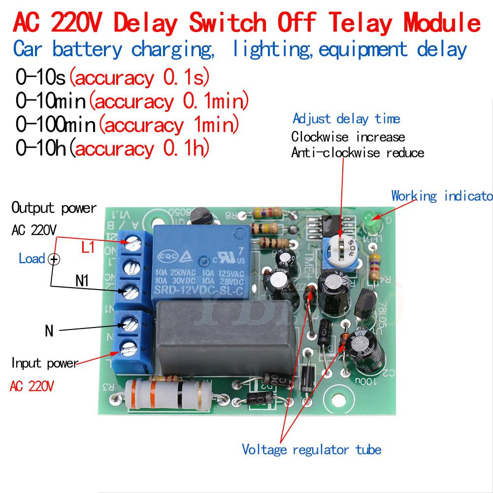 Ac 220v 250v Adjustable Delay Time Turn Off Relay Switch Timer Power Control Module
