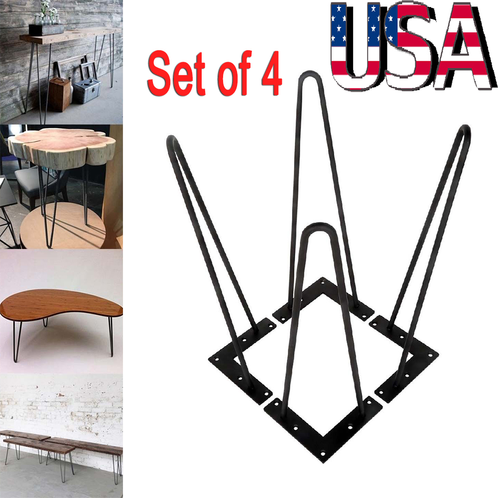 Details About Set Of 4 Black Hairpin Coffee Table Leg Solid Iron Metal Bar Desk Legs 28 30