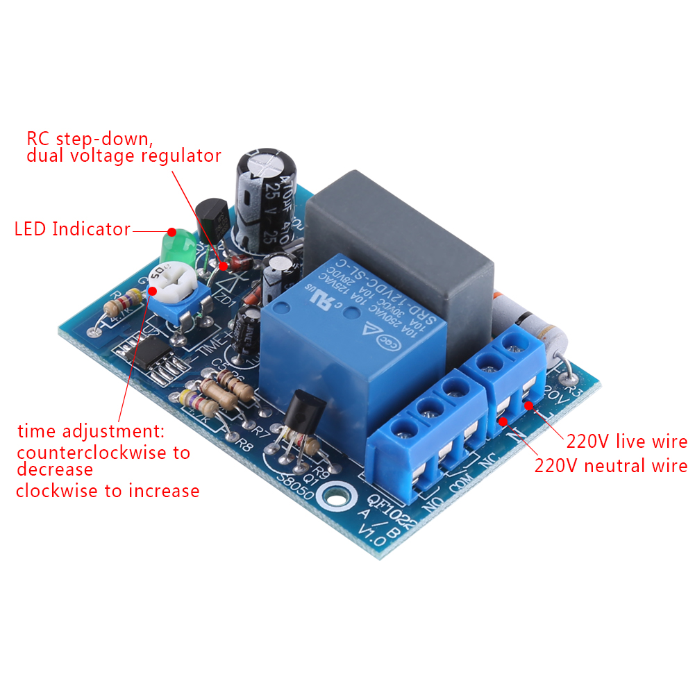 Ac 220v Timer Module With Adjustable Delay Off Switch Time Delay Relay