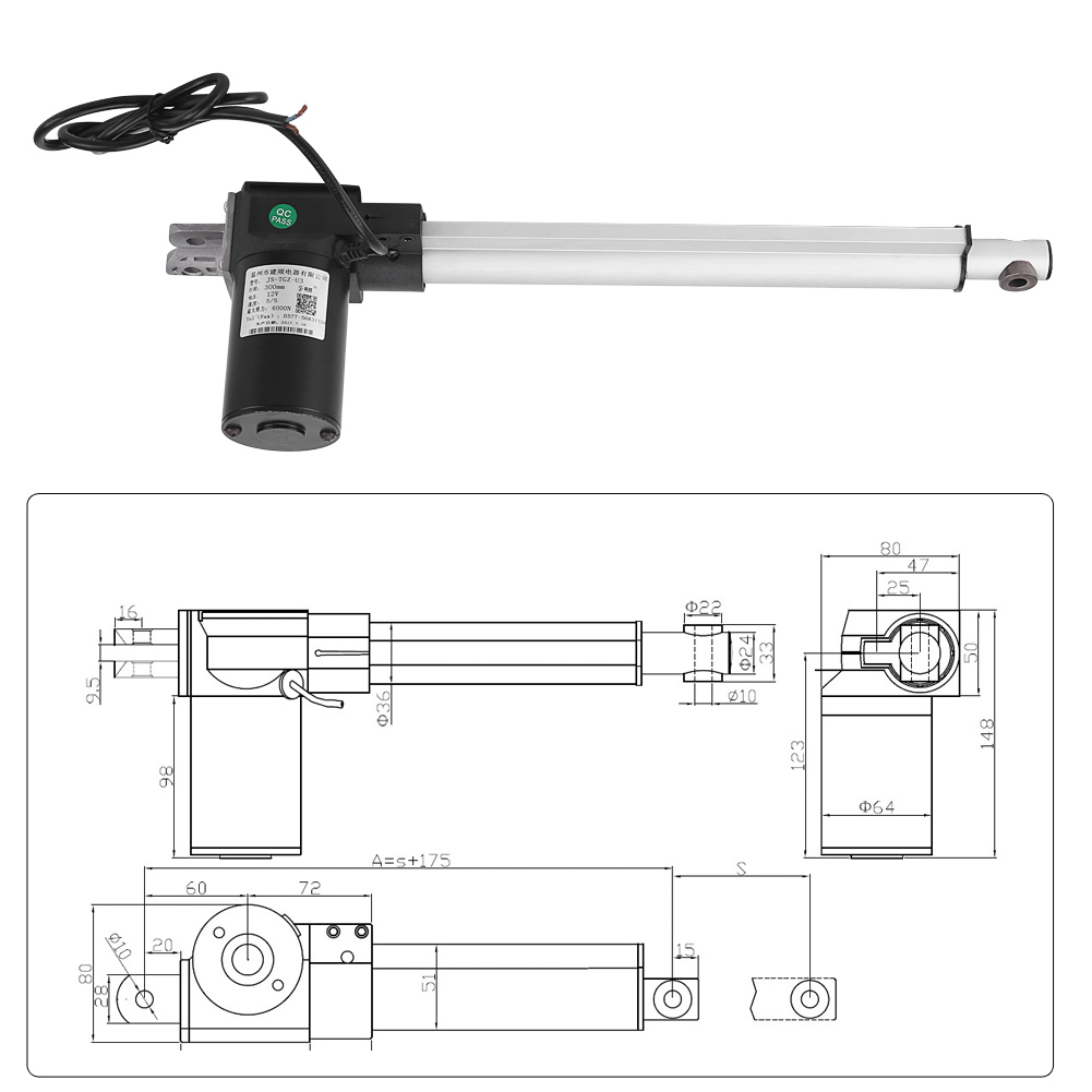 New Dc 12v Linear Actuator 4000n Max Lift 300mm Stroke Electric Wiring Diagram Motor Mp