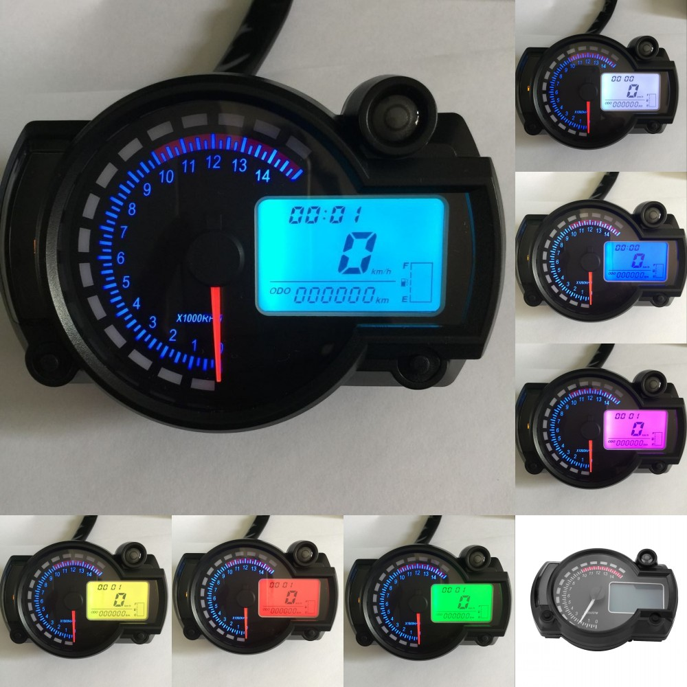 Details about Motorcycle Universal 7Color LCD Digital Speedometer  Tachometer Odometer Gauge UK
