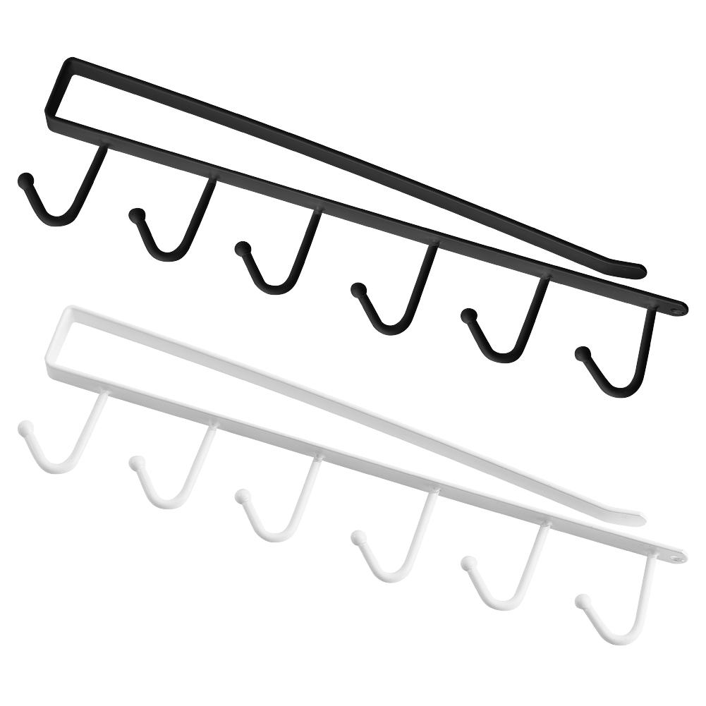 6 hook cup holder hang kitchen cabinet under shelf storage rack organizer tool ebay. Black Bedroom Furniture Sets. Home Design Ideas