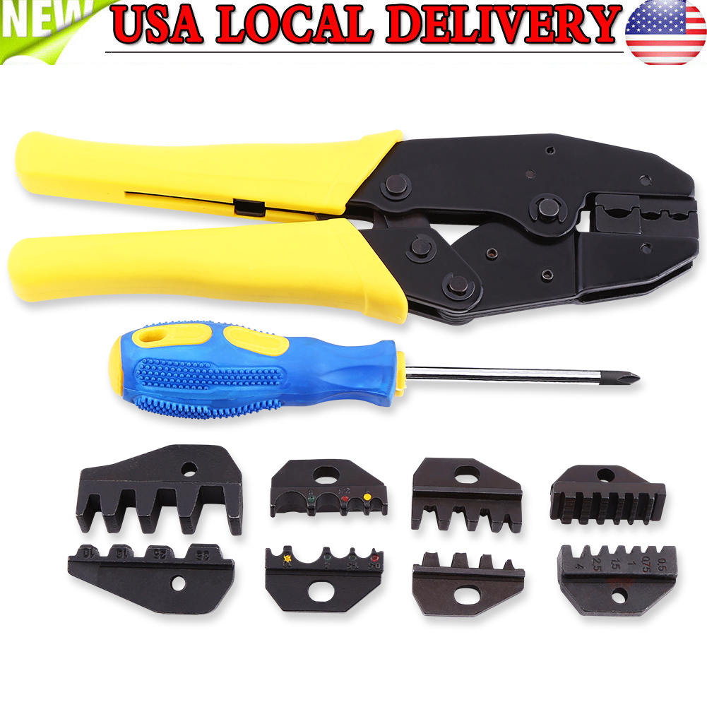 Insulated Cable Connectors Terminal Ratchet Crimping Wire Crimper Plier Tools