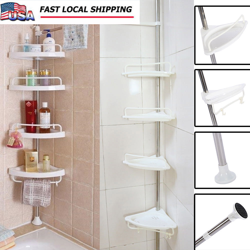 4 Shelf Shower Corner Tension Pole Caddy Organizer Bathroom Bath ...