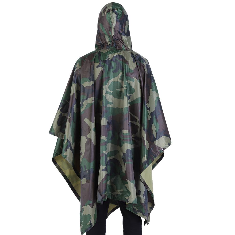 Army Waterproof Festival Rain Ripstop Military Camping Hiking hooded Poncho Beau
